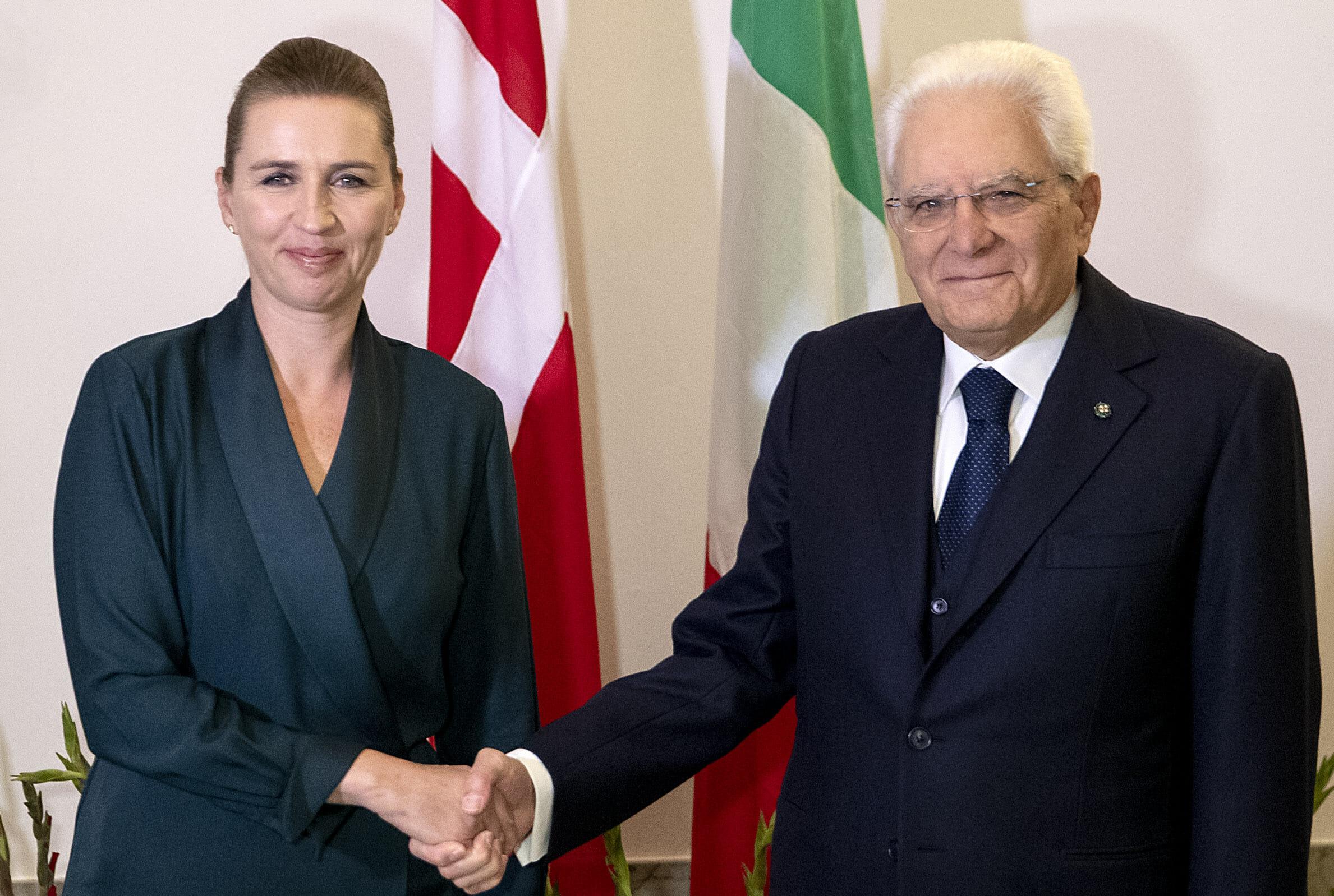 Il Presidente della Repubblica Sergio Mattarella con la Signora Mette Frederiksen, Primo Ministro del Regno di Danimarca