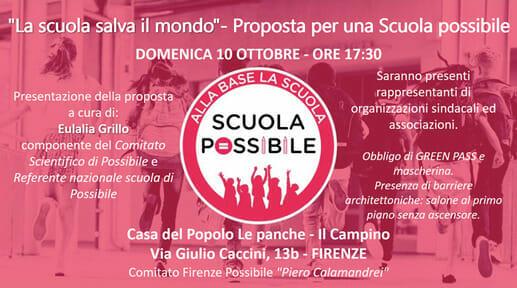 """""""La scuola salva il mondo"""", la proposta di Possibile arriva a Firenze"""